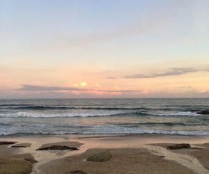 beach, sunset, and ocean image