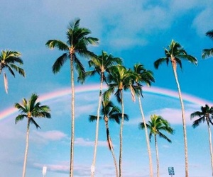 summer, rainbow, and beach image