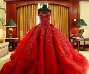 dress, red, and princess image