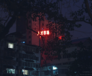neon, dark, and asia image
