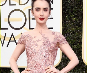 golden globes, lily collins, and dress image