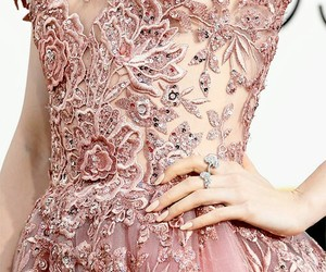 dress, pink, and lily collins image