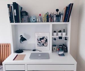 desk, room, and bedroom image