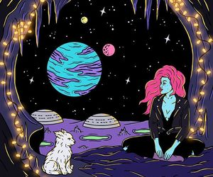 space, girl, and background image