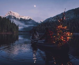 christmas, couple, and lake image
