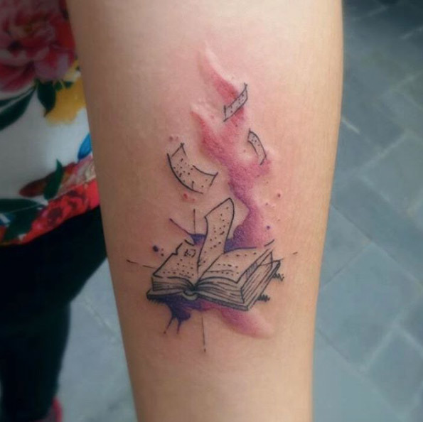 Watercolor Book Tattoo By Leandro Souza On We Heart It