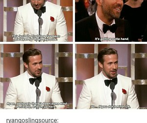 funny, golden globes, and ryan gosling image