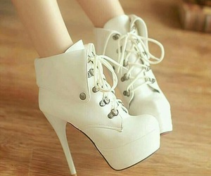 high heels, shoes, and white image