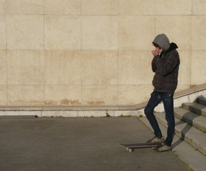 boy, cold, and skate image
