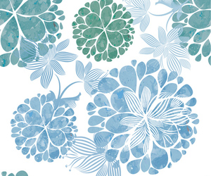blue, flowers, and patterns image