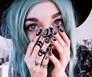 nails, hair, and tattoo image