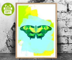 wall art, butterfly print, and colorful wall art image