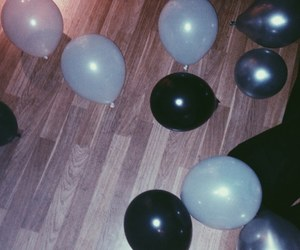 black balloons, indie, and night image