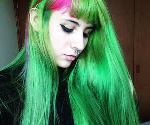 green hair, grunge, and me image