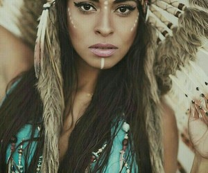 indian, beauty, and feather image