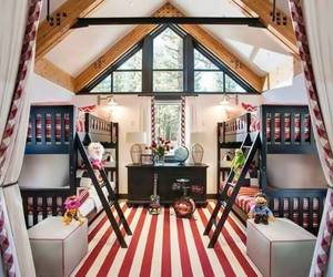 bedroom, bunk beds, and home image