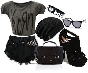 black, korn, and outfit image