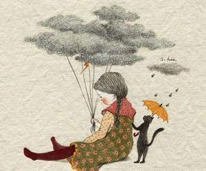 art, rain, and cat image
