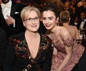 lily collins, meryl streep, and golden globes image
