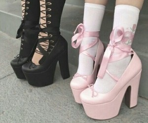 black, pink, and shoes image