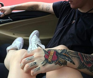 boy, girl, and tattoo image