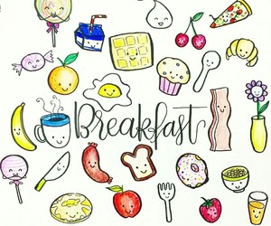 art, breakfast, and draw image