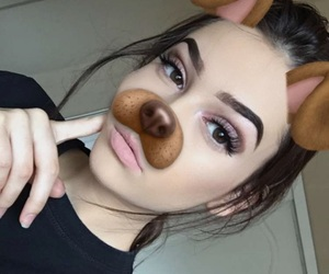 eyebrows, dog filter, and fashion image