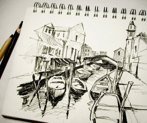 art, boats, and charcoal image
