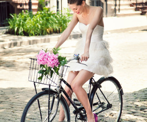 dress, bike, and flowers image