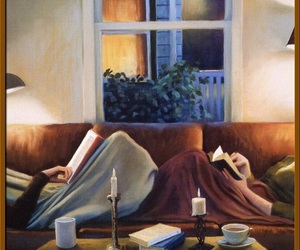 couple, book, and art image