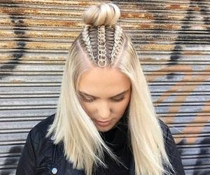 blonde, blonde hair, and braids image