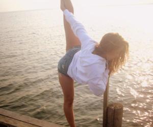 girl, dance, and beach image