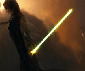 dark, girl, and light saber image