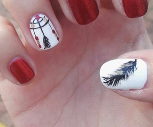 nails, red, and uñas image