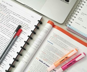 college, study, and highlighters image