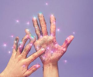 glitter, purple, and hands image