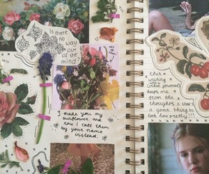 flowers, journal, and art image