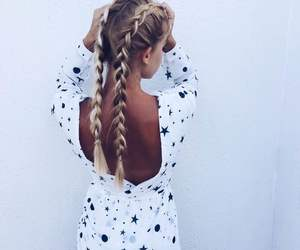 braid, blonde, and dress image
