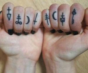 tattoo, hands, and fingers image