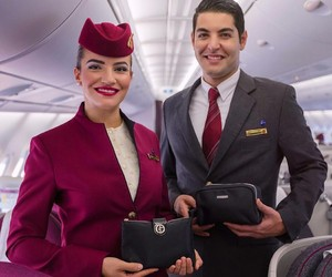 boy, girl, and cabin crew image