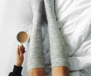 fashion, socks, and coffee image