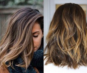 hair, long bob, and ombre hair image
