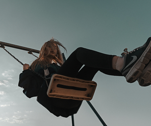 girl, swing, and grunge image