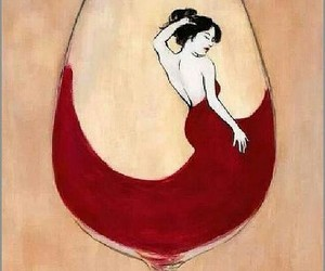 red, wine, and woman image