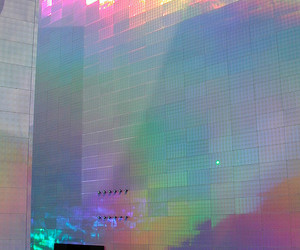 rainbow, building, and holographic image