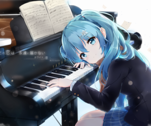 anime, piano, and hatsune miku image