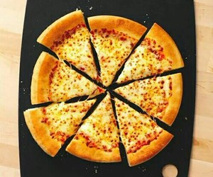food, pizza, and ham and cheese image