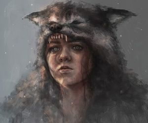 game of thrones, wolf, and art image