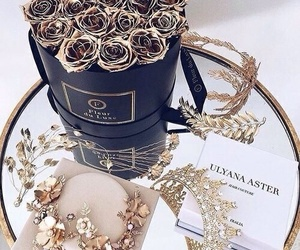 luxury, flowers, and gold image