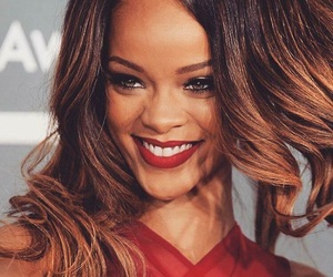 rihanna, smile, and red image